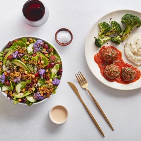 MIXT Market Plate with Impossible Meatballs, broccoli, mashed cauliflower, along with the Falaf Salad